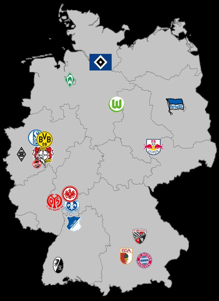 Einzugsgebiete der Bundesligisten