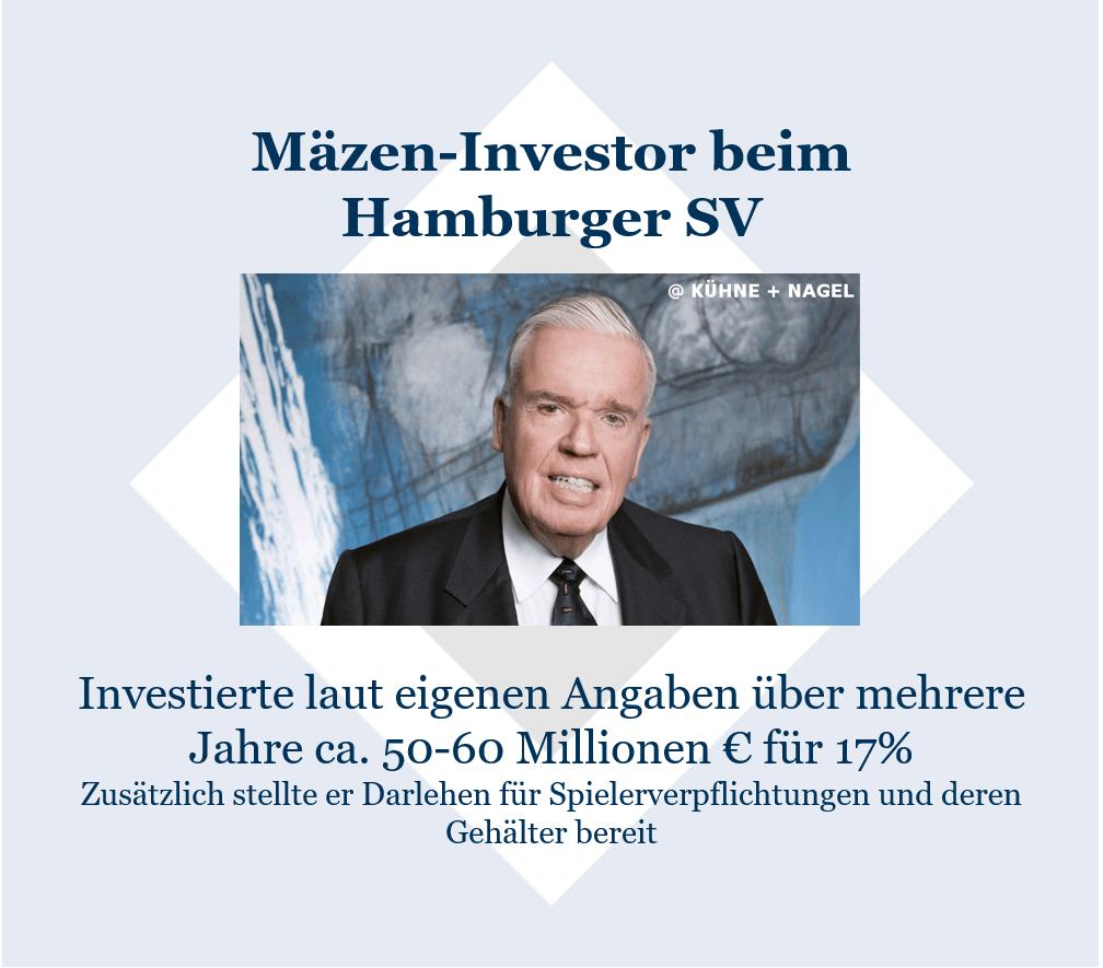 Investoren im Fußball: Kühne als Mäzen-Investor beim HSV