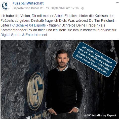 Mein Facebook-Aufruf für Fragen an Tim - Leiter Schalke 04 Esport