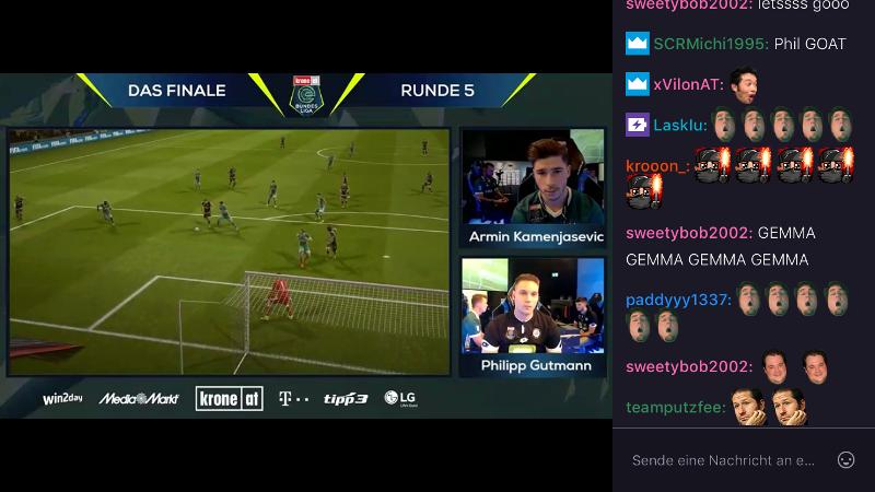 Screenshot von der Übertragung der eBundesliga bei twitch.tv