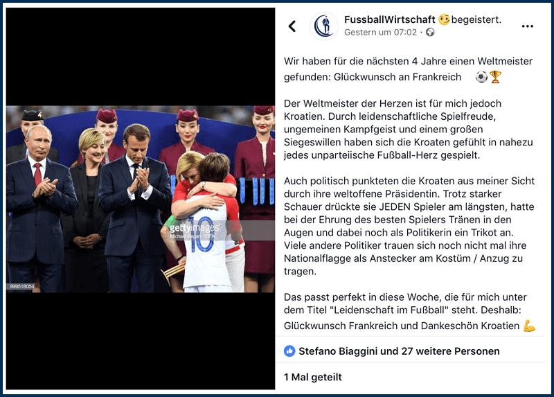 Mein Facebook Post nach dem Finale der Weltmeisterschaft zu einem der prägenden Momente der WM 2018