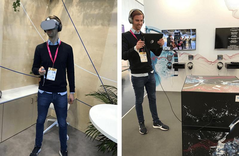 Medientage 2018: Ich teste die AR-Brille von Facebook (links) und erlebe das erste Mal 3D-Sound (rechts)