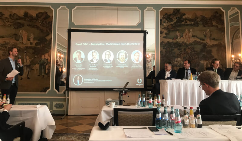 In der Diskussion zu 50+1 bei der Konferenz zu Nachhaltigkeit und Governance im Fußball wurden die Emotionen sichtbar