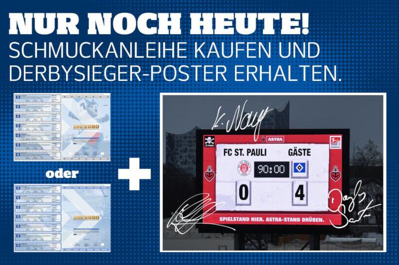 Derbysieger-Poster als Anreiz zur Zeichnung der HSV-Anleihe