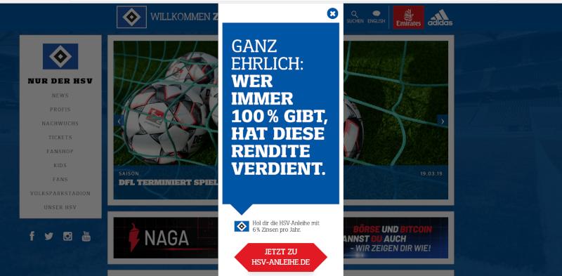 Bewerbung der HSV-Anleihe über ein Banner auf der Webseite
