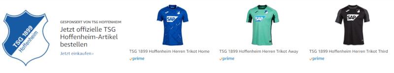 Werbung für den Amazon Brand-Shop der TSG Hoffenheim für Fanartikel