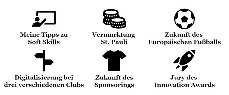 Themen in Bezug auf die Zukunft des Fußballbusiness, bei denen ich eingebunden war